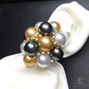 9-10mm Multicolor South Sea and Tahitian Pearl Ring 18k Gold - AAAA
