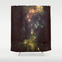 Train Tracks Shower Curtain by 2sweet4words Designs