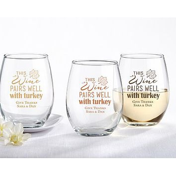 Personalized 15 oz. Stemless Wine Glass - Pairs Well With Turkey