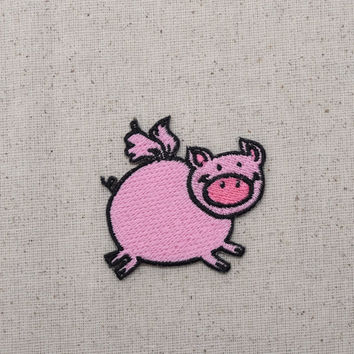Childrens - Pink Flying Pig - Piglet - Iron on Applique - Embroidered Patch - AP-254309