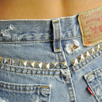 "High Waisted Shorts Levi's Distressed Studded Cutoffs Milky Fr3sh ""Felice"""
