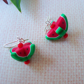 Sweet Watermelon Slice Earrings, polymer clay earrings