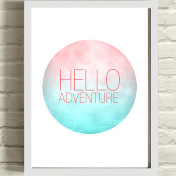 Typography Graphic Art Print / design pink and blue gradient / circle wall art / inspirational poster