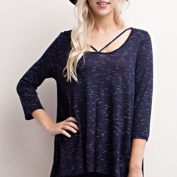 Navy Marled Strappy Top