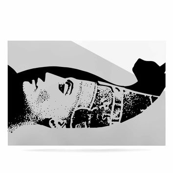 "Ivan Joh ""Cat Egyptian"" Black White Illustration Luxe Rectangle Panel"