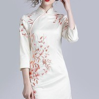 Floral Embroidered Qipao Dress