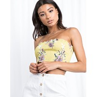 Sun-filled Floral Tube Top