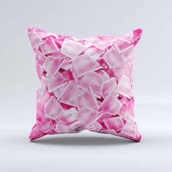 Hot Pink Ice Cubes ink-Fuzed Decorative Throw Pillow