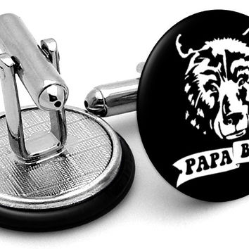 Papa Bear Black Cufflinks