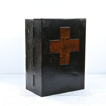 Vintage Red Cross Medicine Cabinet / Red Cross Medical Cabinet / Red Cross Metal Industrial Cabinet