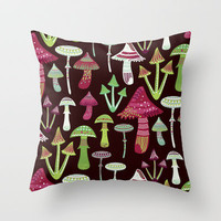 wild mushrooms Throw Pillow by Polkip | Society6