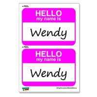Wendy Hello My Name Is - Sheet of 2 Stickers