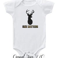 Size Matters Funny Hunting Onesuit Bodysuit