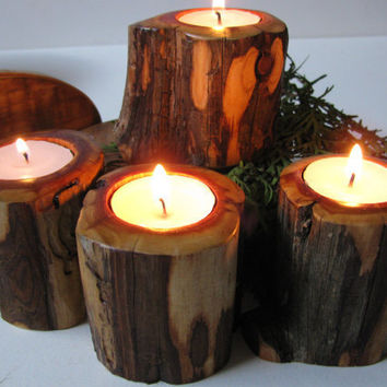 Handmade candle holders. Four woodland tealight candle holders cut from dead standing juniper.