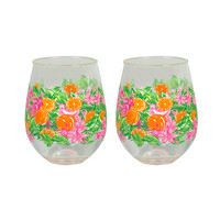 Lilly Pulitzer - Stemless Acrylic Glass Set, Peelin' Out