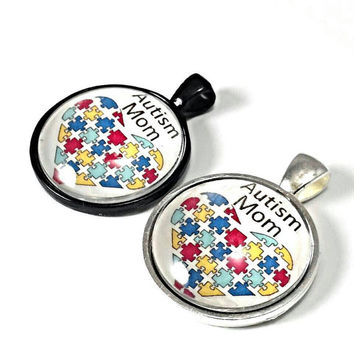 Autism mom necklace, autism awareness jewelry, autism pendant, Autism mom jewelry, autism awareness gifts for mom, teachers.