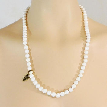 Long White Necklace, Genuine Lucite, 25 inches, Hand Knotted, Lightweight,  Plastic Beads, Vintage Costume Jewelry
