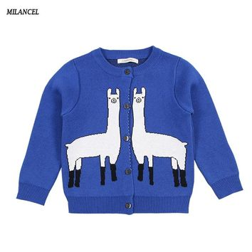 MILANCEl 2018 New Girls Sweaters Knitted Boys Clothing Giraffe Style Kids Sweaters Cotton Girls Cardigans Kids Knitwear