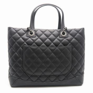 Chanel Quilting Lambskin Leather Shoulder Tote Bag Black 0813