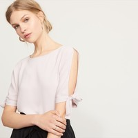 Cold Shoulder Tee with Tied Sleeves