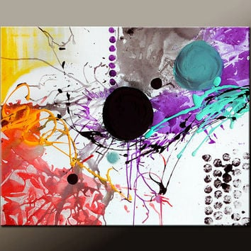 Abstract Canvas Art Painting Canvas 30x24 Original Modern Contemporary Paintings by Destiny Womack - dWo - Chaos In Motion