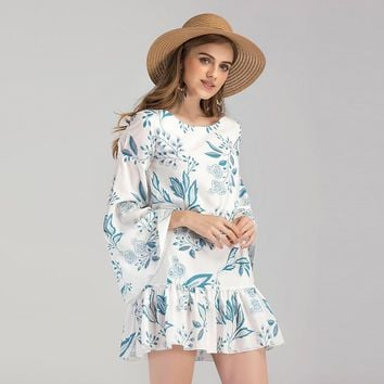 White and Blue Floral Short Dress with Ruffle Hem