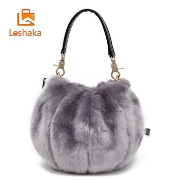Loshaka Women Fur Handbags Solid Color Fashion Fur Shoulder Bags for Girls Vintage Women Evening Totes Drop Shipping  2017 New