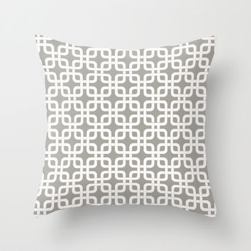 Mid-Century Modern Geometric Pattern, rounded corner squares interlocking Throw Pillow by Audrey Jeannes