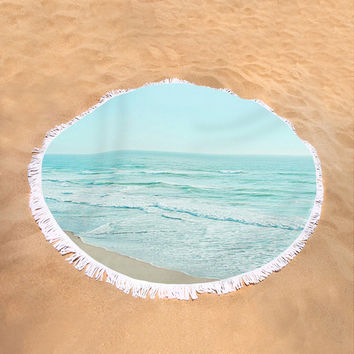 Round Beach Towel Serene Ocean Beach Waves Boho Bohemian Large Beach Blanket Light Blue Beach Photography