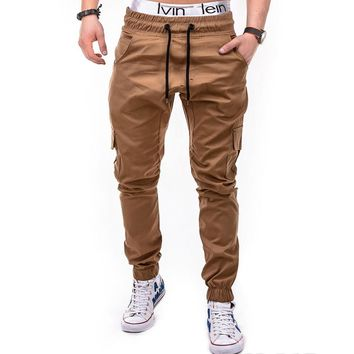 Men's Casual Solid Color Multi-Pocket Joggers