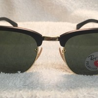 Authentic RAY-BAN polarized aluminum clubmaster RB3507 136/N5 Black 51mm G-15