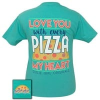 Girlie Girl Originals Preppy Pizza my heart T-Shirt