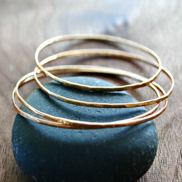 Hammered Bangle Bracelets- 14K Gold - Sterling Silver