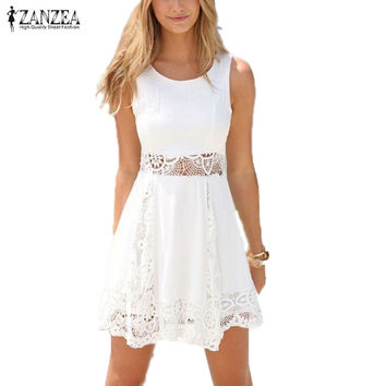 Zanzea 2016 Summer Style White Dress Women Casual Solid Lace Strapless Sexy A-line Short Mini Dresses Plus Size Vestidos