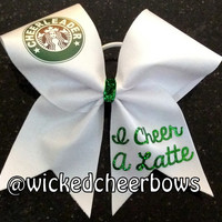 Cheer Bow - Cheerleader, I Cheer A Latte
