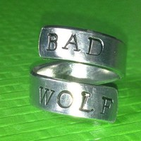 Doctor Who Inspired - Bad Wolf - Adjustable Twist Aluminum Ring