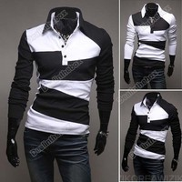 New Men Casual Stylish Slim Fit Shirts Long Sleeve T-shirts Tee Coat US XS/S/M/L