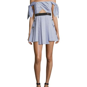 Blue Striped Shirting Tie-Sleeves Mini Dress