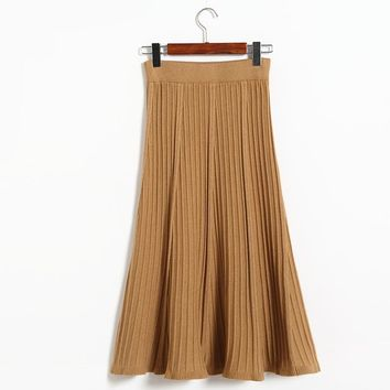Autumn Winter Stripe Mermaid knitting Wool Hip Skirt Women  Stretch Female Slim Thin Waist Skirts Solid Color Skirt New