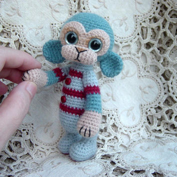 Artist Bear OOAK Crocheted Thread Teddy Monkey Crochet Amigurumi