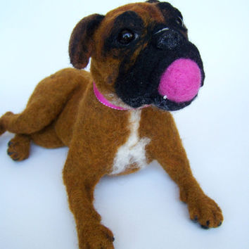 Needle felted pet portrait big Boxer dog - Wool animal sculpture- eco friendly art-Collectible artist animals