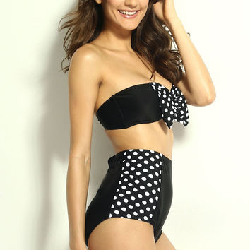 Black & White Polka Dots High Waisted Swimsuit with Strapless Bandeau Top