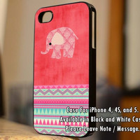 Pink Elephant on Watermelon Pattern and Aztec Design iPhone Case And Samsung Galaxy Case