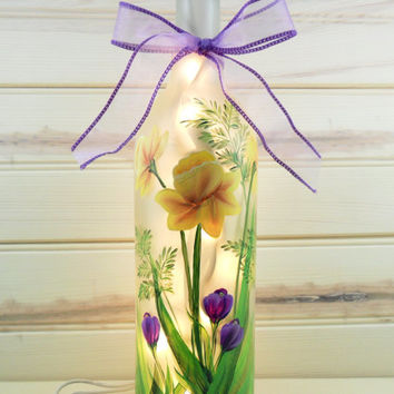 Daffodil Crocus Lighted Wine Bottle Hand Painted 750 ml
