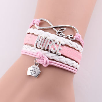 Best gift infinity love NURSE Bracelet hat charm leather rope wrap handmade bracelets bangles Custom made Drop Shipping