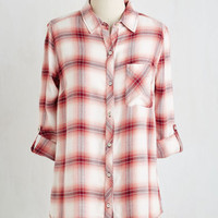 Americana Mid-length 3 Button Down Java Voom Top by ModCloth