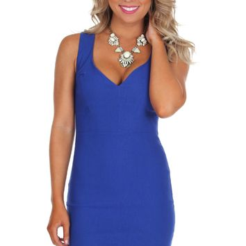 V-Neck Bodycon Blue