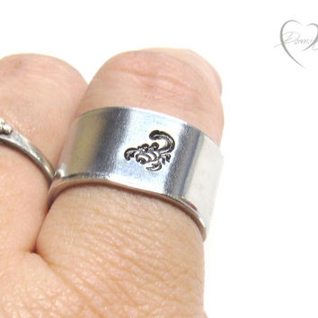 Scorpion Ring - Handstamped Ring - Scorpion Jewelry - Scorpio Ring - Mens Gifts - Thick Ring - Knuckle Ring - Personalized Ring - Custom
