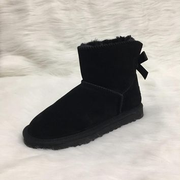 EU34-42 Australian Style Ugs Women Snow Boots ONE-Bow Back Winter Leather Ankle Boots Brand IVG,Customize Color Acceptable!