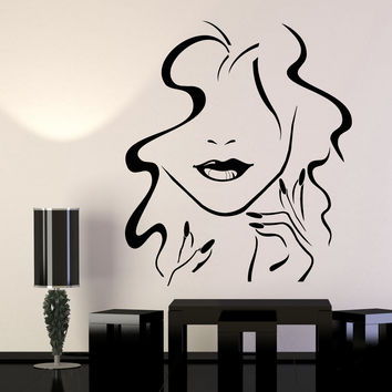 Vinyl Wall Decal Beauty Hair Salon Girl Lips Nails Makeup Stickers Unique Gift (1121ig)